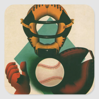 Deportes del vintage, jugador de béisbol, colector pegatina cuadrada
