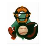 Deportes del vintage, jugador de béisbol, colector postal