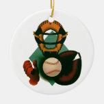 Deportes del vintage, jugador de béisbol, el colec adorno de navidad