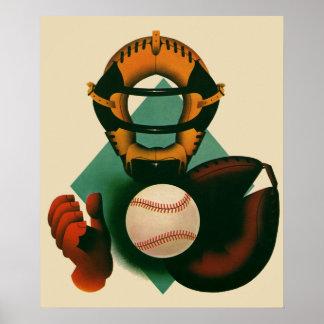 Deportes del vintage jugador de béisbol el colec impresiones
