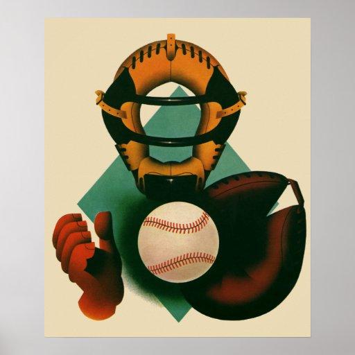 Deportes del vintage, jugador de béisbol, el colec impresiones