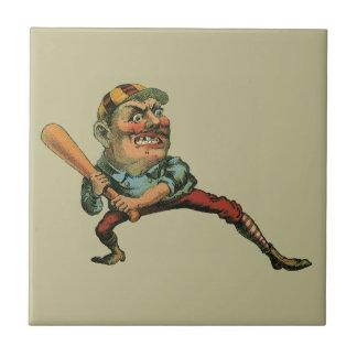 Deportes del vintage, jugador de béisbol enojado tejas  ceramicas