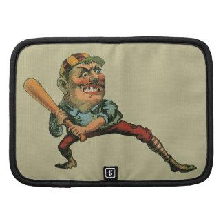 Deportes del vintage, jugador de béisbol enojado organizador