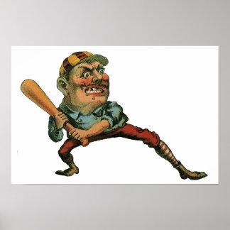 Deportes del vintage, jugador de béisbol enojado póster
