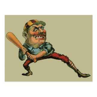 Deportes del vintage, jugador de béisbol enojado postal