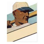 Deportes del vintage, jugador de béisbol estilizad postales
