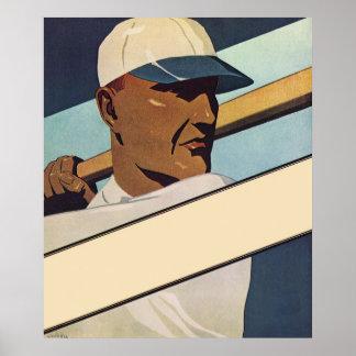 Deportes del vintage, jugador de béisbol póster