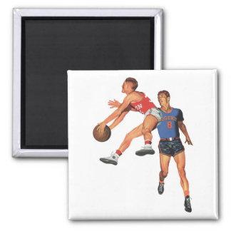 Deportes del vintage, jugadores de básquet imán cuadrado