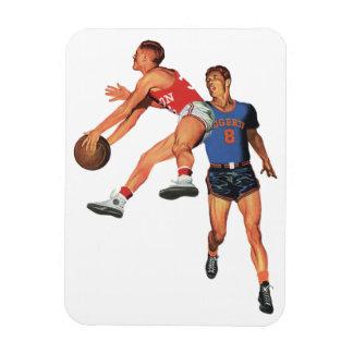 Deportes del vintage, jugadores de básquet iman