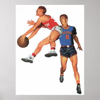 Deportes del vintage, jugadores de básquet póster