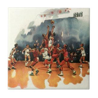 Deportes del vintage, jugadores de básquet que azulejo cuadrado pequeño