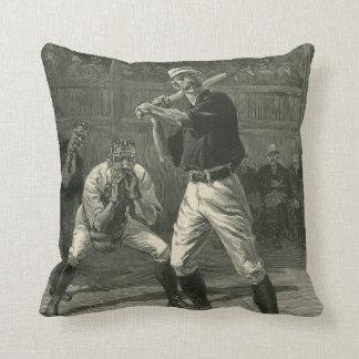 Deportes del vintage, jugadores de béisbol cojin