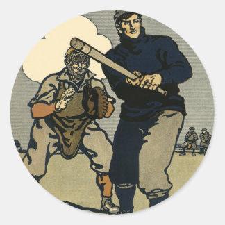 Deportes del vintage, jugadores de béisbol en un pegatina redonda