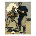 Deportes del vintage, jugadores de béisbol estiliz anuncios