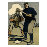 Deportes del vintage, jugadores de béisbol estiliz felicitaciones