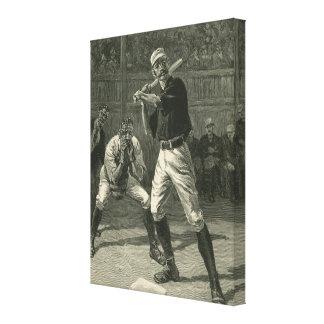 Deportes del vintage, jugadores de béisbol impresión en tela