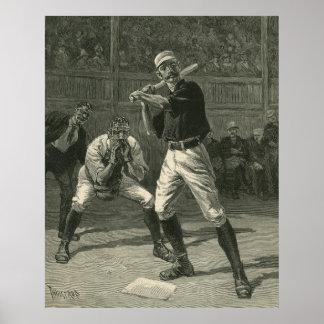 Deportes del vintage, jugadores de béisbol póster