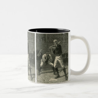 Deportes del vintage, jugadores de béisbol por taza de dos tonos