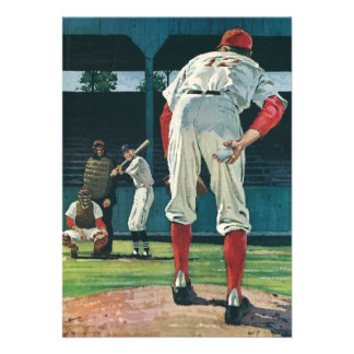 Deportes del vintage jugadores de béisbol que jue invitacion personalizada