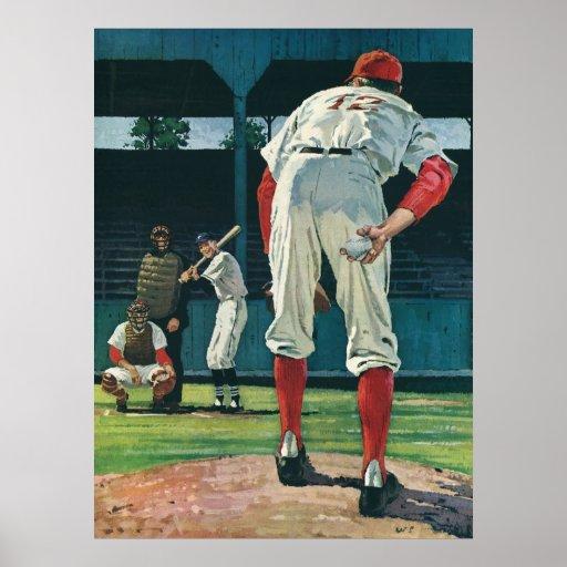Deportes del vintage, jugadores de béisbol que jue impresiones