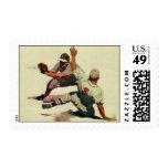 Deportes del vintage, jugadores de béisbol sello