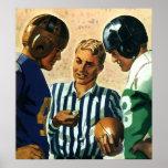 Deportes del vintage, lanzamiento de la moneda de  poster