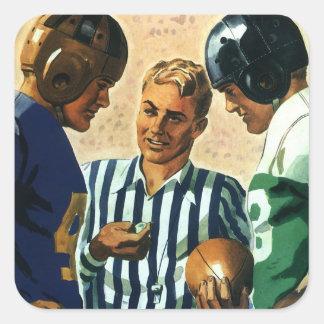 Deportes del vintage, lanzamiento de la moneda de pegatina cuadrada