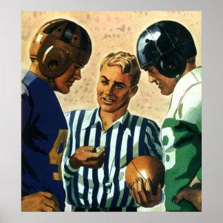 Deportes del vintage, lanzamiento de la moneda de póster