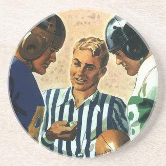 Deportes del vintage, lanzamiento de la moneda del posavasos de arenisca