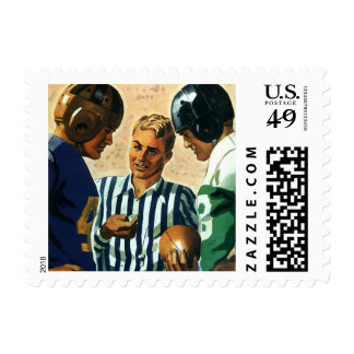 Deportes del vintage, lanzamiento de la moneda del sellos postales