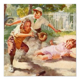 """Deportes del vintage, niños que juegan a béisbol invitación 5.25"""" x 5.25"""""""