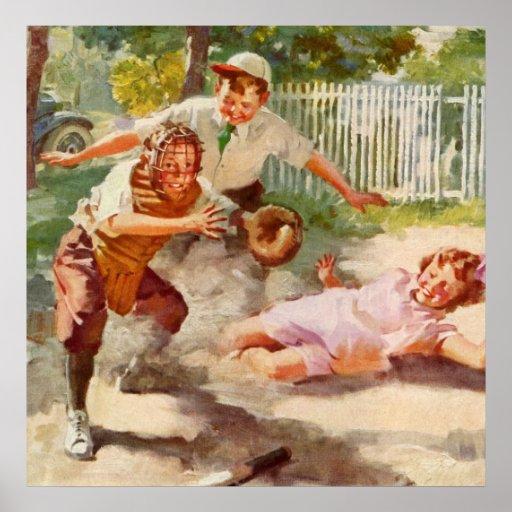 Deportes del vintage, niños que juegan a béisbol poster