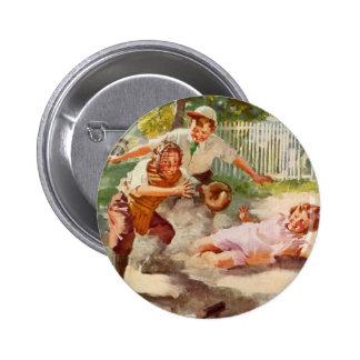 Deportes del vintage, niños que juegan a béisbol chapa redonda 5 cm