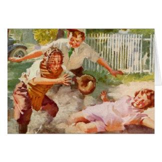 Deportes del vintage, niños que juegan a béisbol tarjeta de felicitación