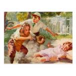 Deportes del vintage, niños que juegan a béisbol postales