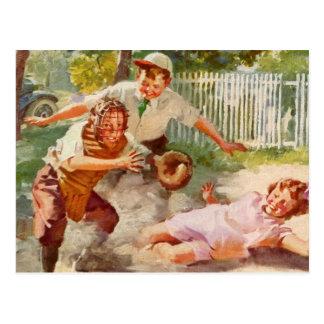 Deportes del vintage, niños que juegan a béisbol postal