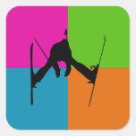 deportes extremos - esquí pegatina cuadradas