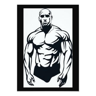 """deportes musculares del hombre del invitación 5"""" x 7"""""""