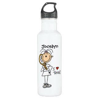Deportes para mujer de encargo del tenis botella de agua