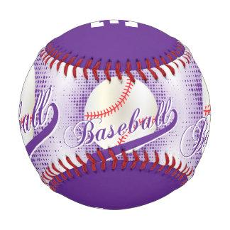 Deportes retros blancos del béisbol de la púrpura