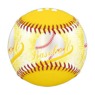 Deportes retros blancos del béisbol del amarillo