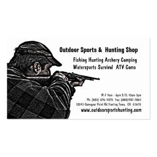 Deportista del tiroteo que caza la tienda al aire tarjeta de negocio