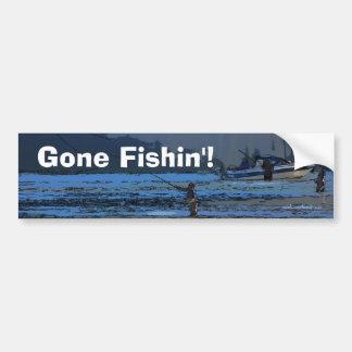 Deportistas de la pesca con mosca pegatina para auto