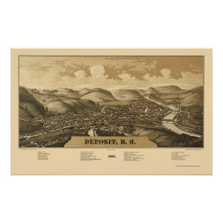 Deposit, NY Panoramic Map - 1887 Poster