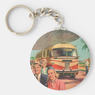 Depósito de autobús del vintage con los pasajeros llavero