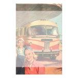 Depósito de autobús del vintage con los pasajeros   papeleria