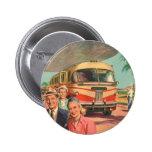 Depósito de autobús del vintage con los pasajeros  pins