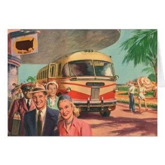Depósito de autobús del vintage con los pasajeros tarjeta de felicitación