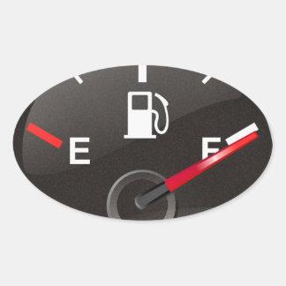 Depósito de gasolina lleno calcomania de óval