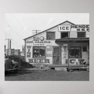 Depósito de hielo y tienda del borde de la carrete poster